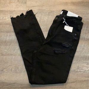 Bershka Black distressed twill denim cropped jeans